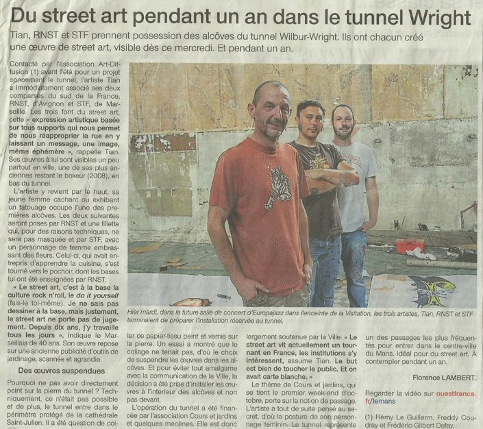 News - 2016 - Tunnel Wilbur-Wright - Le Mans- Article ouest France