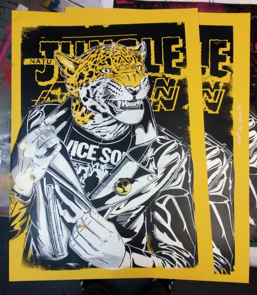 News - Indoor - 2017 - Rumble in the Jungle - Pochoir sur papier 50x70cm