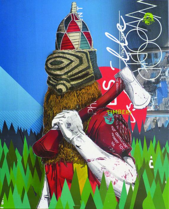 Indoor - 2017 - Bucheron - Pochoir et collage sur toile 81x100cm