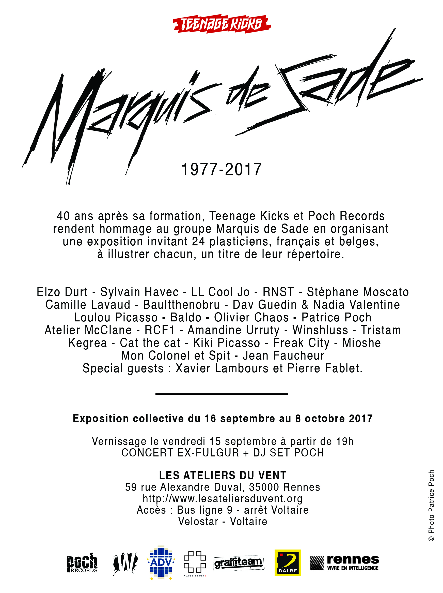 News - 2017 - Flyer Verso - Marquis de Sade - Teenage Kicks et Poch Records