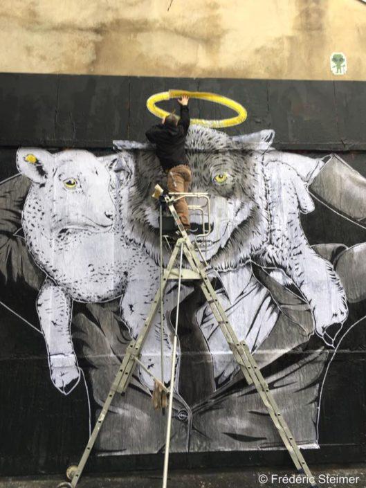 Outdoor - 2017 - Le MUR Oberkampf - Le loup et l'agneau - Détail - Crédit Frédéric Steimer