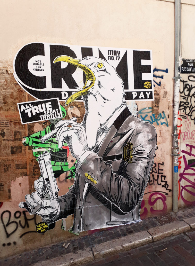 Outdoor - 2017 - Le crie du Gabian - Collage - Marseille Panier