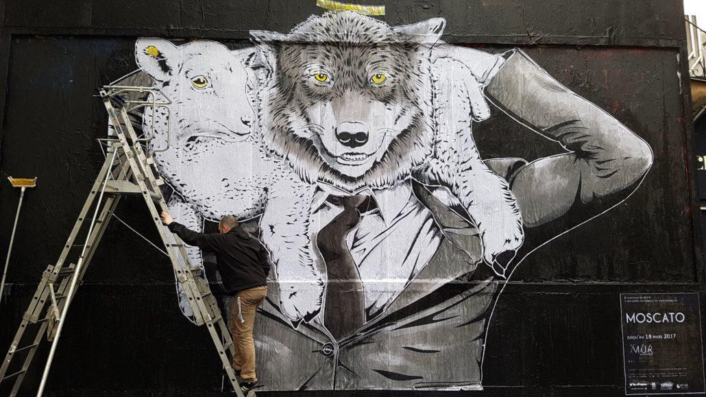 Outdoor - 2017 - Le MUR Oberkampf - Le loup et l'agneau - Détail - Crédit Thierry Lainé