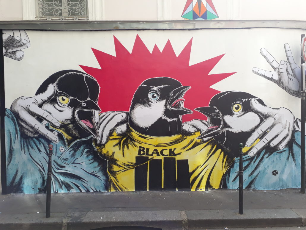 news - 2018 - Mur - If the tits are united - Stephane Moscato - Galerue - Les mésanges bistrot - 2